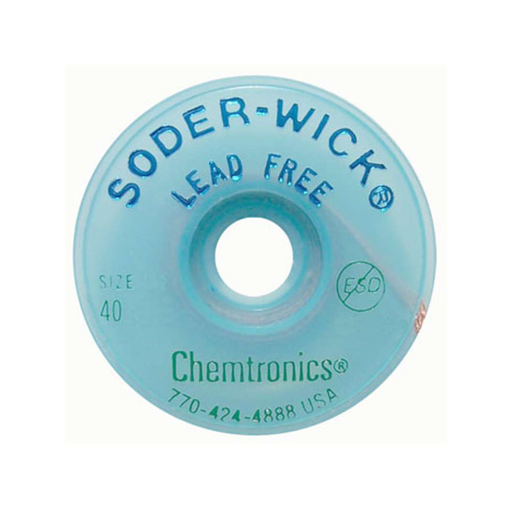 "Chemtronics SW14035 Soder-Wick Lead-Free SD Size #3 .080"" ESD 5' 10 Bobbins"