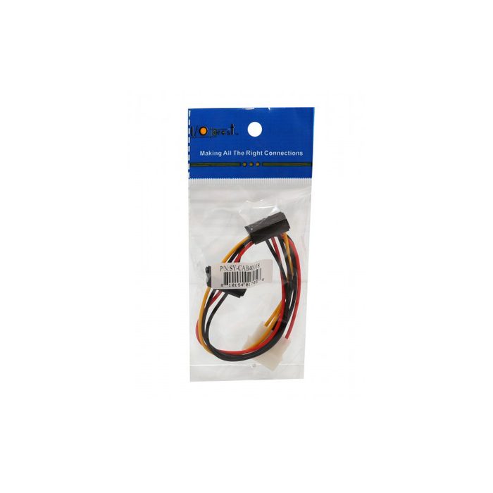 "Syba SY-CAB40018 12"" Molex to Dual SATA Right Angle Power Cable"