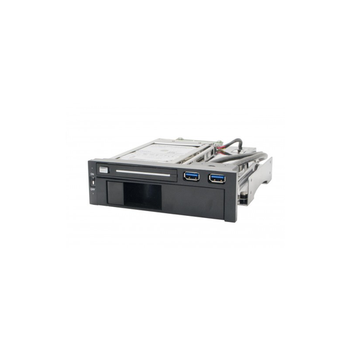 "Syba SY-MRA55006 5.25"" Bay Drive Tray Less Mobile Rack for 3.5"" and 2.5"" SATA III HDD with extra 2 port USB 3.0"