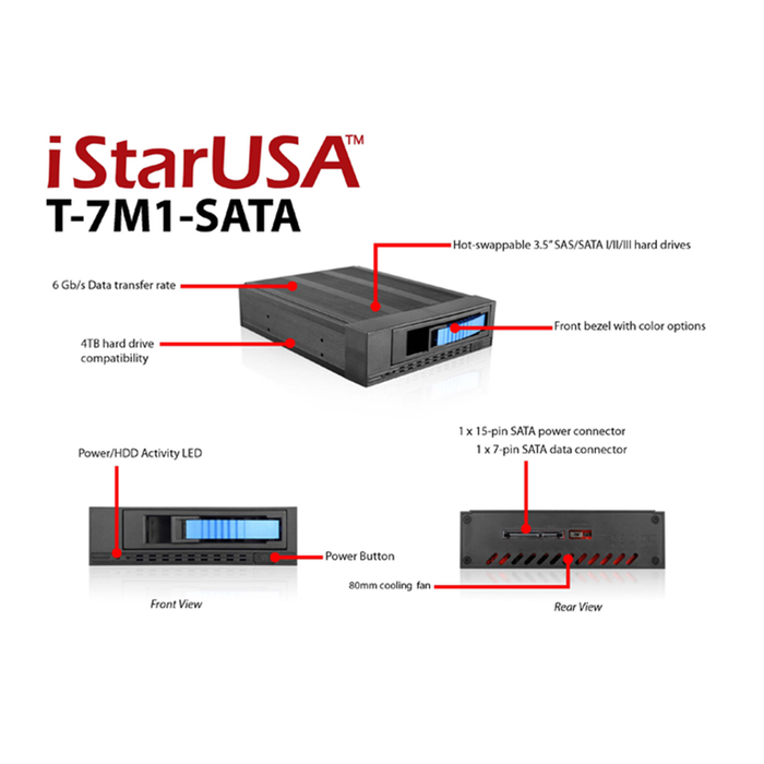 "iStarUSA T-7M1-SATA-BPL 5.25"" to 3.5"" 2.5"" SATA SAS 6 Gbps HDD SSD Hot-swap Rack"