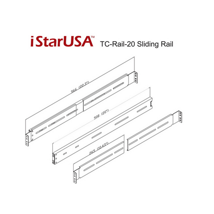 "iStarUSA TC-RAIL-20 20"" Sliding Rail Kit for Most Rackmount Chassis"