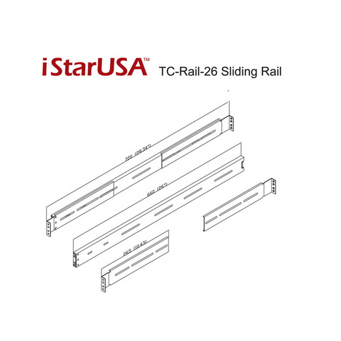 "iStarUSA TC-RAIL-26 26"" Sliding Rail Kit for Most Rackmount Chassis"
