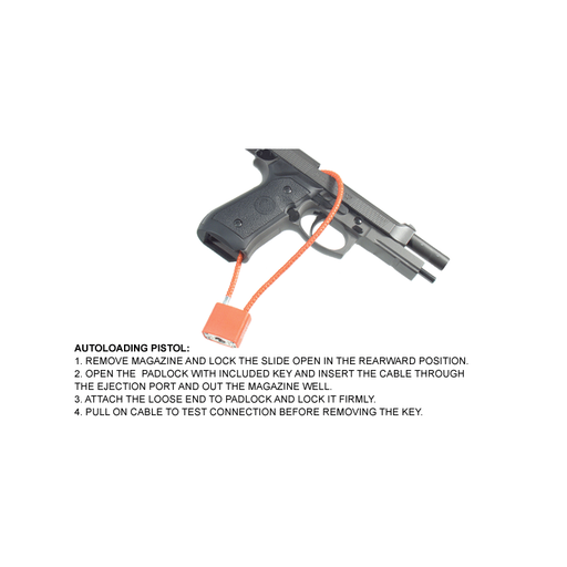 "UTG TL-GLK01 Firearm Cable Lock F5.3mmX15"", California DOJ Approved"