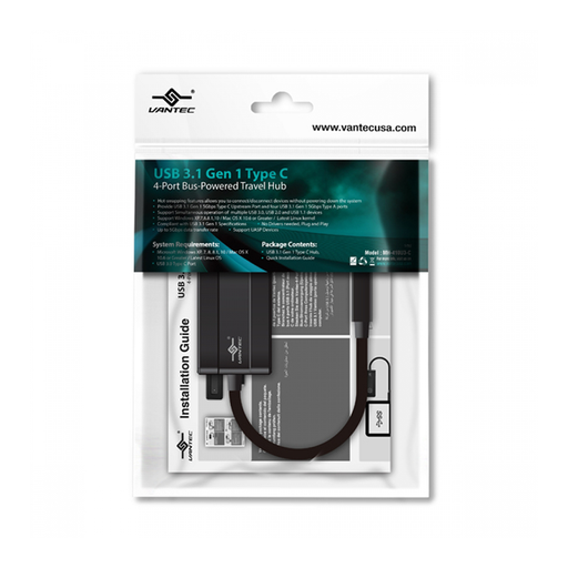 Vantec UGT-MH410U3-C 4-Port USB-C Travel Hub