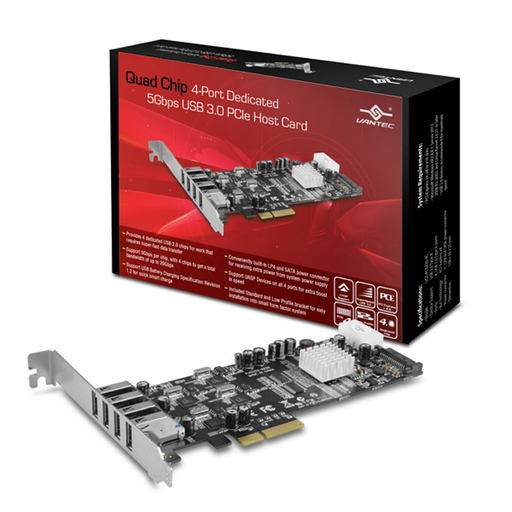 Vantec UGT-PCE430-4C Quad Chip 4-Port Dedicated 5Gbps USB 3.0 PCIe Host Card
