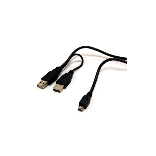 "Bytecc USB2-HD201 2.0 Y cable, A male x 2 to Mini B 5pin male x1, for 2.5"" Enclosure or USB2.0 Hub"