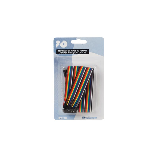 Velleman VMA414: 40-Pin Male to Female Flat Cable Jumper Wire - 30 cm