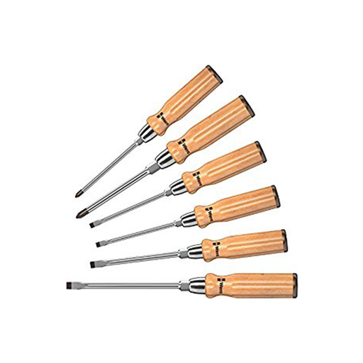 Wera 05018251001 Wooden Handle Slotted/Phillips Screwdriver Set, 6 Piece