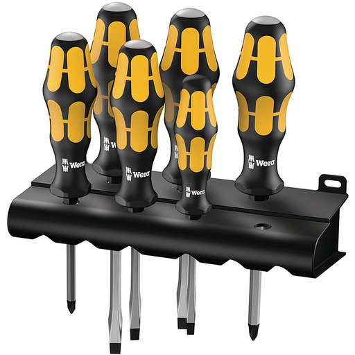 Wera 05018282001 Kraftform Plus Slotted/Phillips Screwdriver Set + Rack, 6 Piece