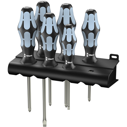Wera 05032063001 Stainless Steel Slotted/Phillips/Pozidriv Screwdriver Set + Rack, 6 Piece