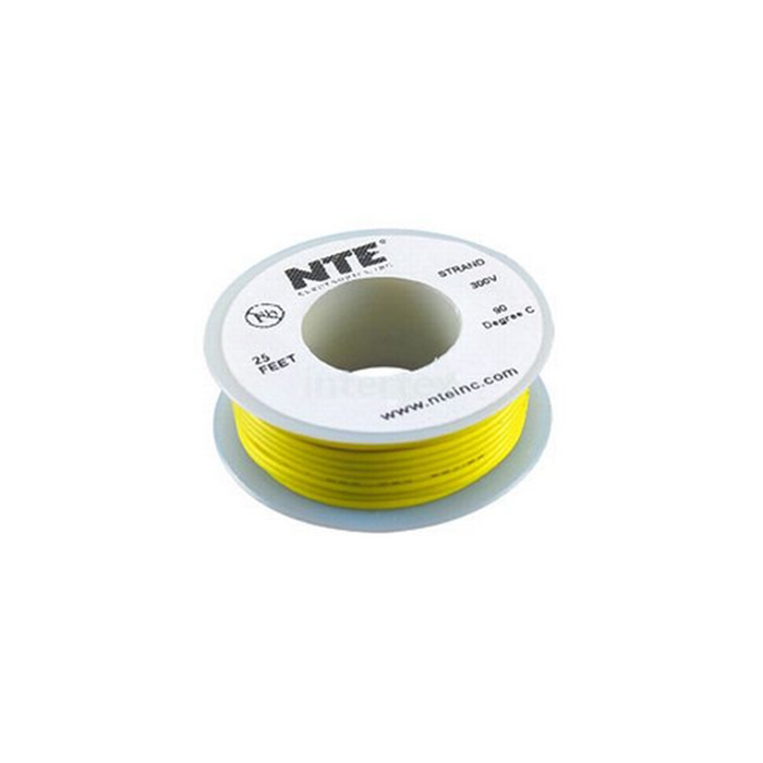 NTE Electronics WH16-04-25 Hook Up Wire 300V 16 Gauge Stranded 25' Yellow