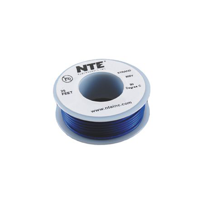 NTE Electronics WH16-06-25 Hook Up Wire 300V 16 Gauge Stranded 25' Blue