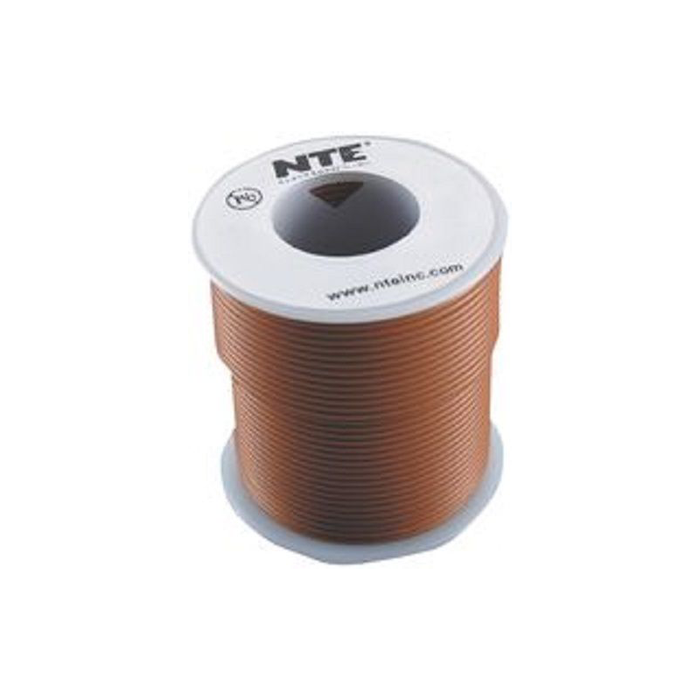 NTE Electronics WH18-01-1000 Hook Up Wire 300V 18 Gauge Stranded 1000' Brown