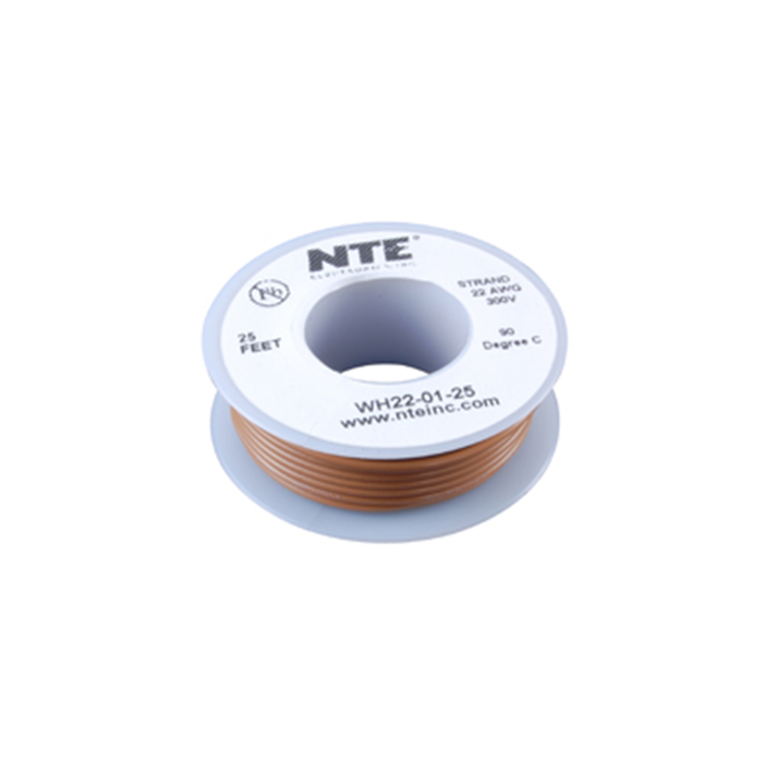 NTE Electronics WH18-01-25 Hook Up Wire 300V 18 Gauge Stranded 25' Brown