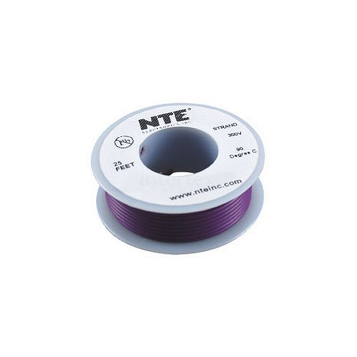 NTE Electronics WH18-07-25 Hook Up Wire 300V 18 Gauge Stranded 25' Violet