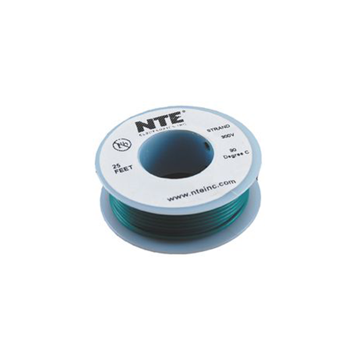 NTE Electronics WH20-05-25 Hook Up Wire 300V 20 Gauge Stranded 25' Green