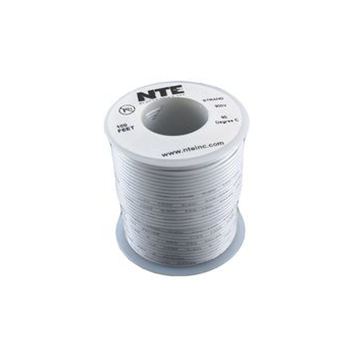 NTE Electronics WH20-09-100 Hook Up Wire 300V 20 Gauge Stranded 100' White