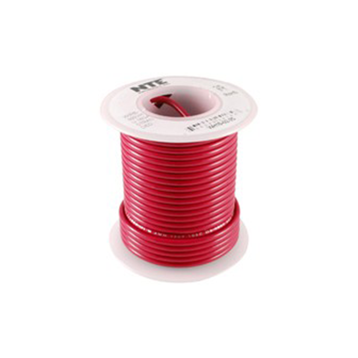 NTE Electronics WH22-02-500 Hook Up Wire 300V 22 Gauge Stranded 500' Red