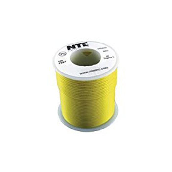 NTE Electronics WH22-04-100 Hook Up Wire 300V 22 Gauge Stranded 100' Yellow