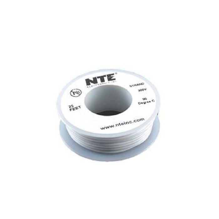 NTE Electronics WH22-09-25 Hook Up Wire 300V 22 Gauge Stranded 25' White