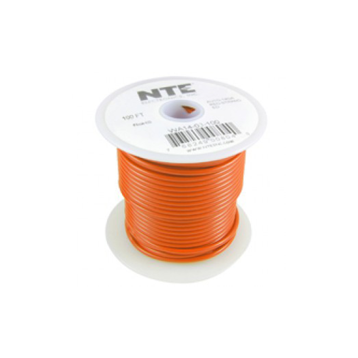 NTE Electronics WH24-03-1000 Hook Up Wire 300V 24 Gauge Stranded 1000' Orange