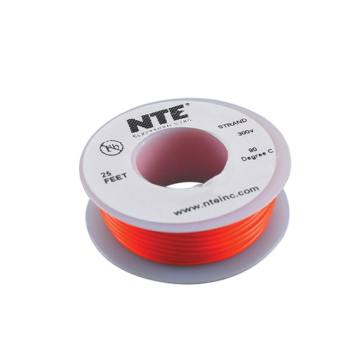 NTE Electronics WH24-03-25 Hook Up Wire 300V 24 Gauge Stranded 25' Orange