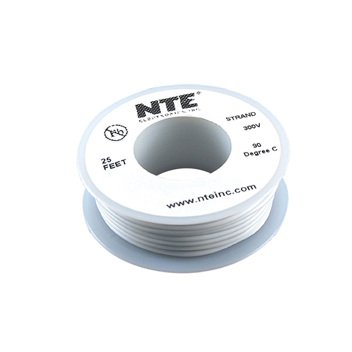 NTE Electronics WH24-09-25 Hook Up Wire 300V 24 Gauge Stranded 25' White