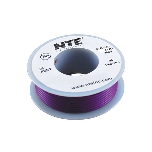 NTE Electronics WH26-07-25 Hook Up Wire 300V 26 Gauge Stranded 25' Violet