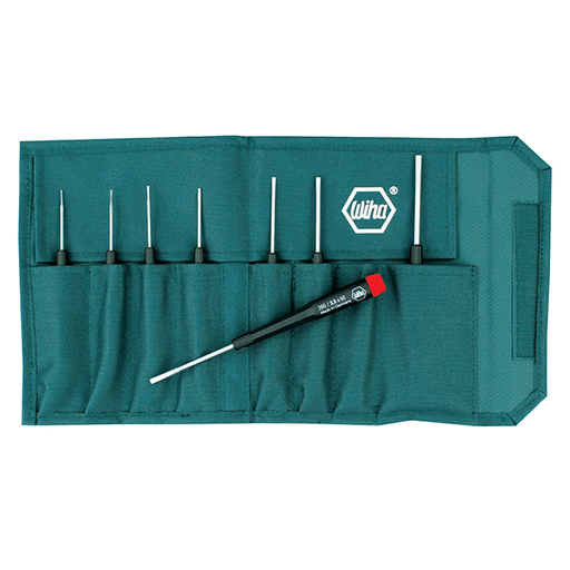 Wiha 26099 8 Piece Precision Slotted Screwdriver Pouch Set