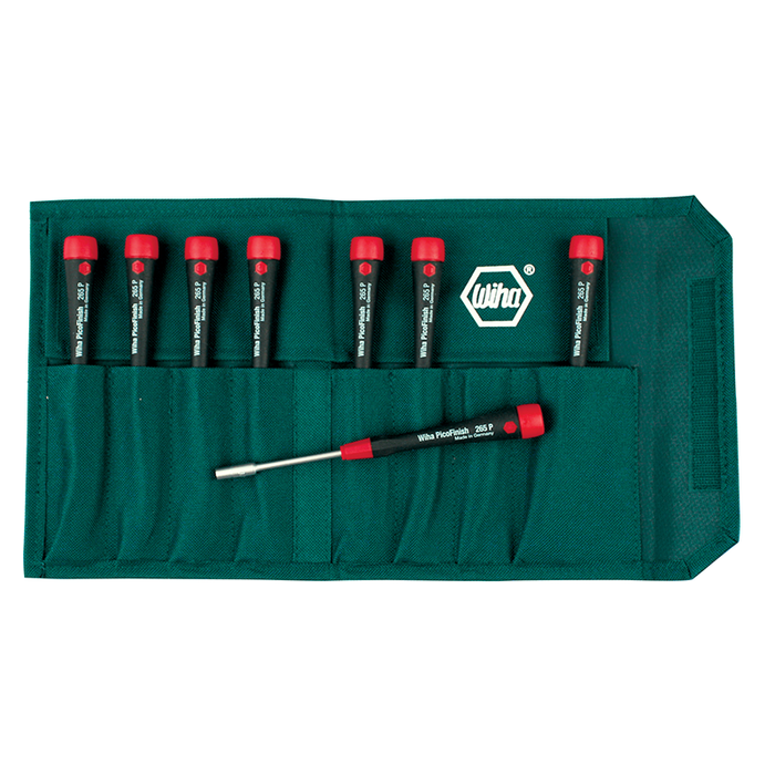 Wiha 26593 8 Piece SAE PicoFinish Precision Nut Driver Pouch Set