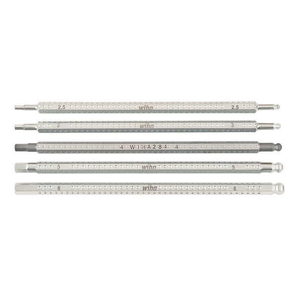 "Wiha 28476 5.9"" Hex Metric + Ball End Drive-Loc 5 Blade Set"