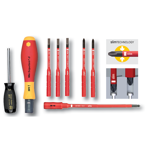 Wiha 28791 Insulated Slotted and Phillips Torque Screwdriver Set,  8 Piece