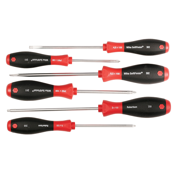 Wiha 30291 6 Piece SoftFinish Slotted, Phillips and Square Screwdriver Set