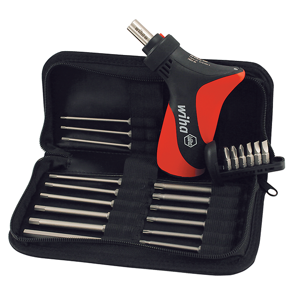 Wiha 39297 Ratcheting Pistol Grip Set with Security Blades, Slotted and Phillips Bits, 23 Piece