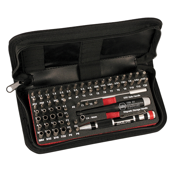 Wiha 75971 MicroBit Master Tech Set In Zipper Case, 68 Piece