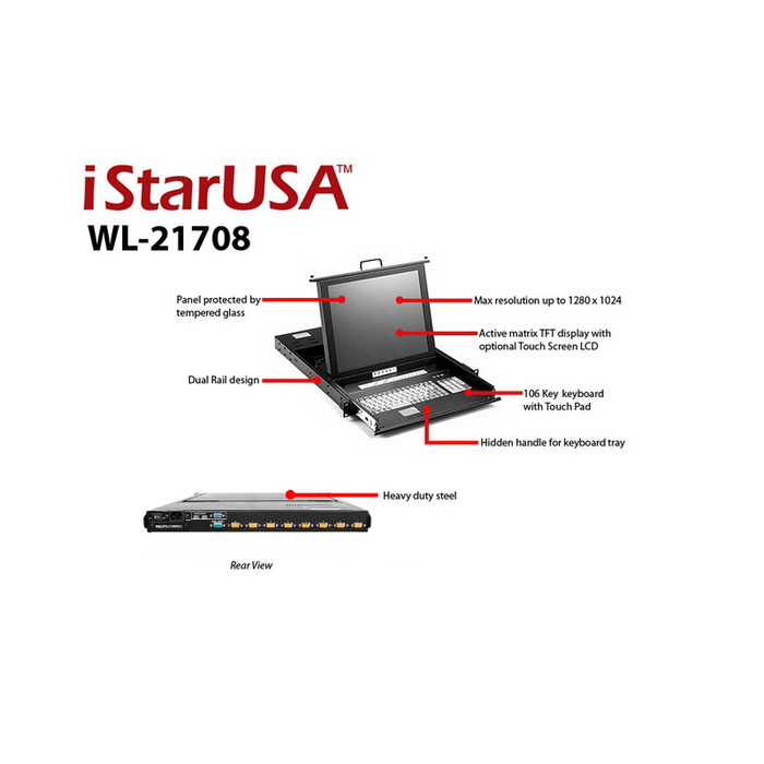 "iStarUSA WL-21708 1U Rackmount 17"" TFT LCD Keyboard Drawer with Built-in 8-port KVM"