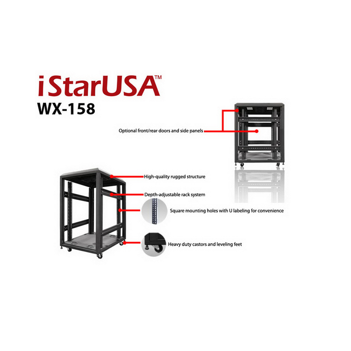 iStarUSA WX-158 15U 4-Post 800mm Open Frame Rack