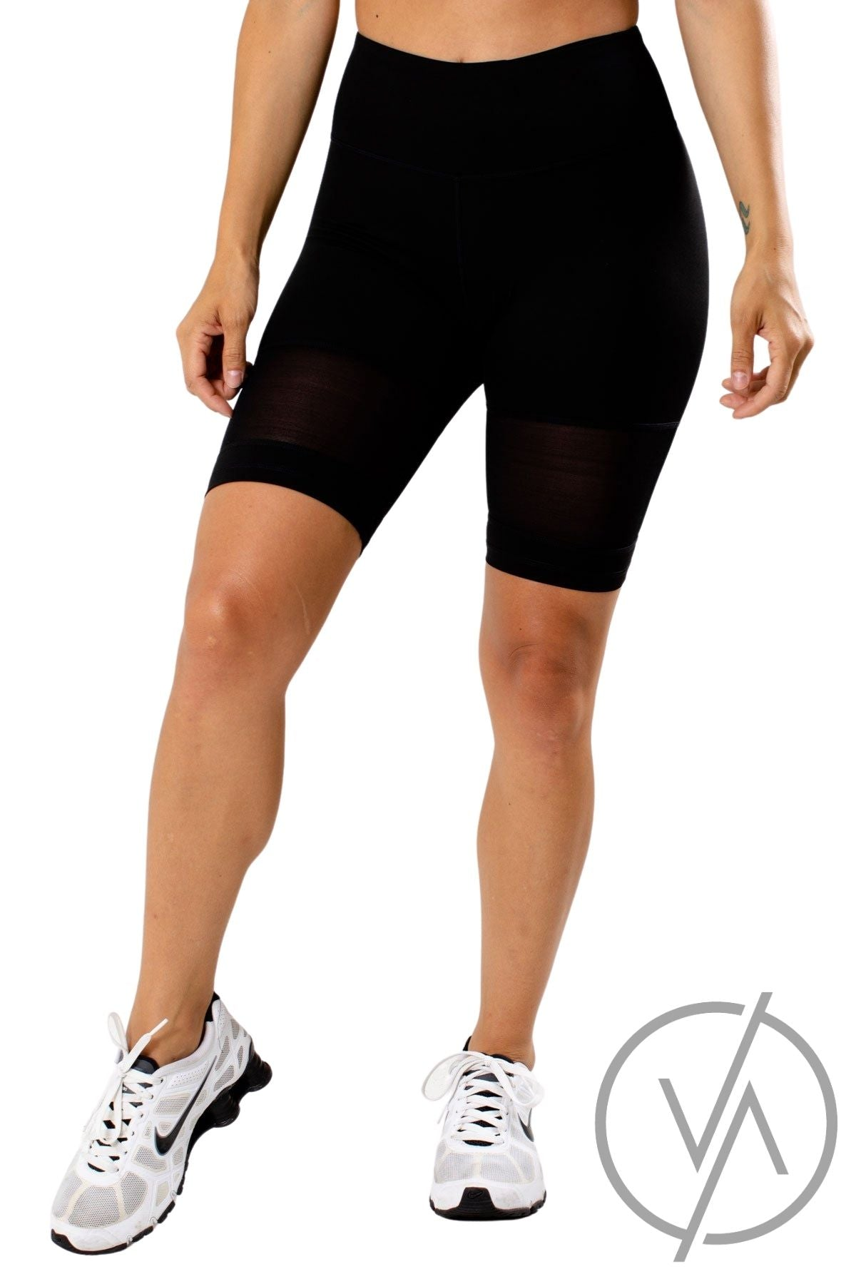 Black Mesh Detailed Athletic Biker Shorts for Women