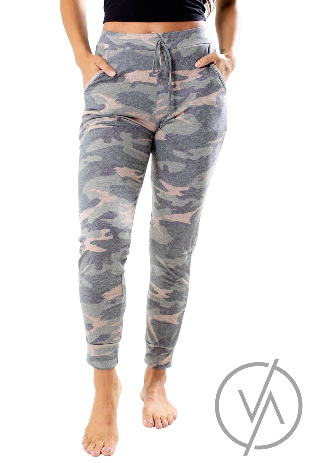 Green Camo Print Athletic Joggers for Women