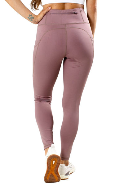 Women's Purple Back Zipper Pocket Athletic Legging