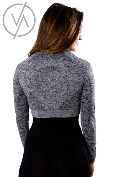 Women's Gray Cropped Athletic Top