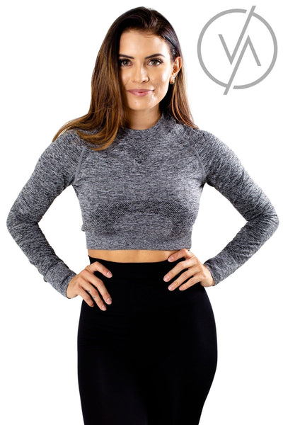Women's Gray Cute and Comfortable Athletic Crop Top
