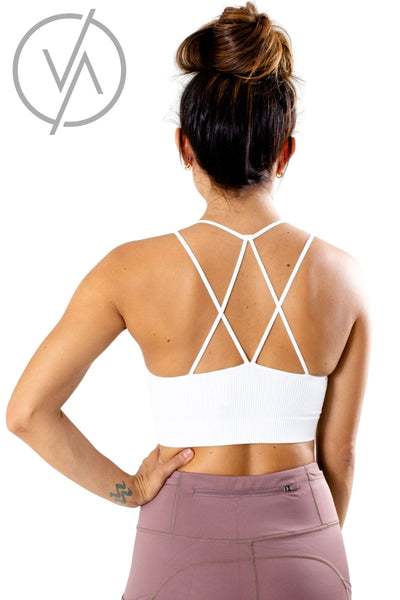 Women's White Strappy Detailed Athletic Tank