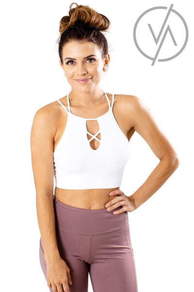 White Cutout Detail Athletic Tank Tops for Women
