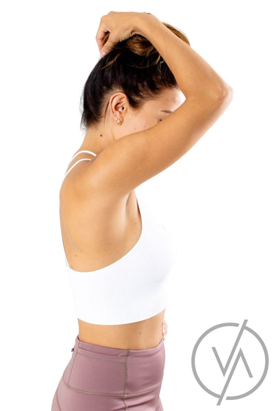 Women's White Cropped Length Athletic Tank