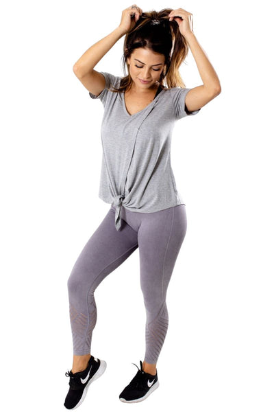 Women's Purple Ribbed Accented Athletic Legging