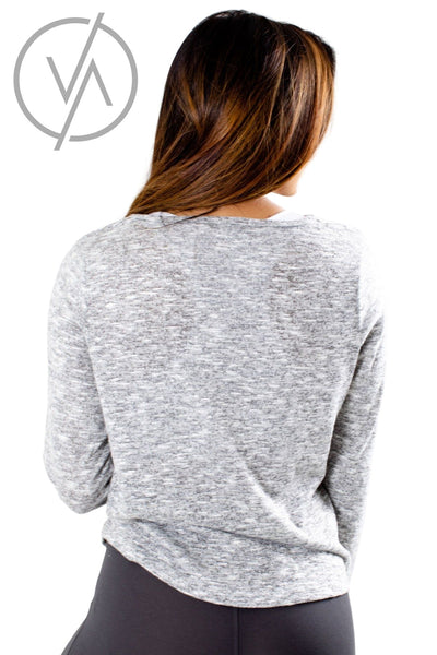 Women's Heather Gray Long Sleeve Athletic Top