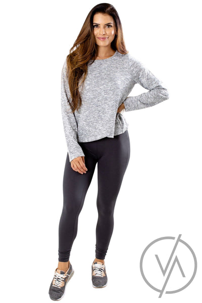 Women's Gray Long Sleeve Athletic Top