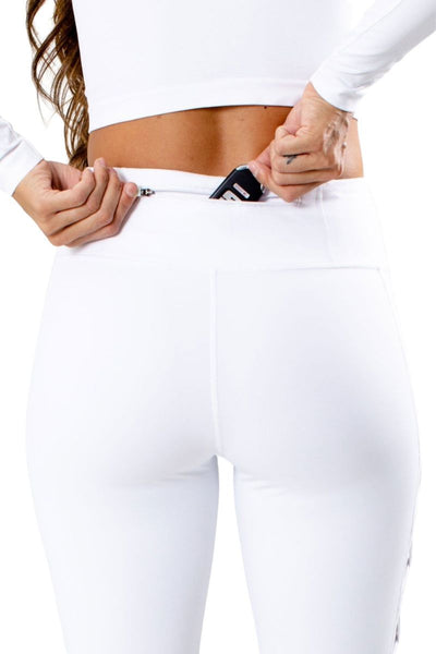 Women's White Mesh Detailed Legging