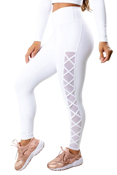 White Back Zipper Pocket Legging for Women